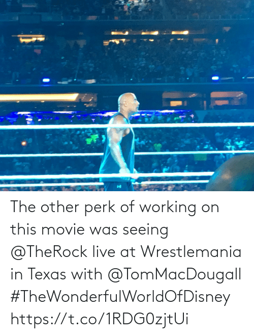 seeing: The other perk of working on this movie was seeing @TheRock live at Wrestlemania in Texas with @TomMacDougall #TheWonderfulWorldOfDisney https://t.co/1RDG0zjtUi