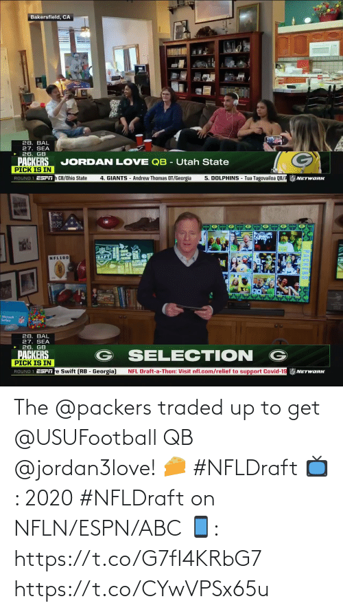 Packers: The @packers traded up to get @USUFootball QB @jordan3love! 🧀 #NFLDraft   📺: 2020 #NFLDraft on NFLN/ESPN/ABC 📱: https://t.co/G7fI4KRbG7 https://t.co/CYwVPSx65u