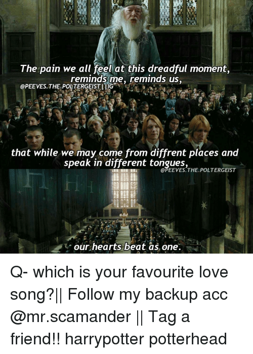 Love, Memes, and Hearts: The pain we all feel at this dreadful moment,  reminds me, reminds us,  @PEE VES. THE POLTERGEISTI IIG  that while we may come from diffrent places and  speak in different tongues  THE. POLTERGEIST  our hearts beat as one. Q- which is your favourite love song?|| Follow my backup acc @mr.scamander || Tag a friend!! harrypotter potterhead