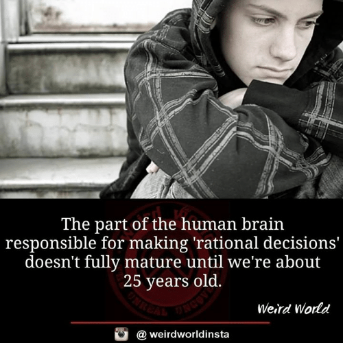 25 Years Old: The part of the human brain  responsible for making 'rational decisions'  doesn't fully mature until we're about  25 years old.  Weird World  @ weirdworldinsta