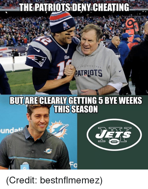 Cheating, Nfl, and Patriotic: THE PATRIOTS:DENY CHEATING  BUT ARE CLEARLY GETTING 5 BYE WEEKS  THIS SEASON (Credit: bestnflmemez)
