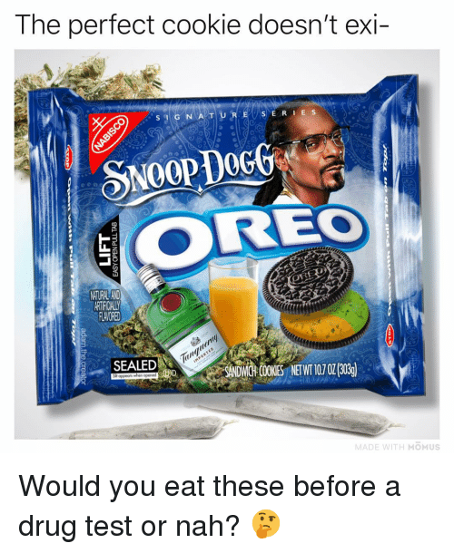 Drug Test: The perfect cookie doesn't exi  S E RI E S  SNOOP DOGG  REO  FLAVORED  EALED  SANDWCGH COKES NETWT 107 0130g)  MADE WITH MOMUS Would you eat these before a drug test or nah? 🤔