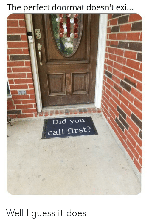 Well I Guess: The perfect doormat doesn't exi...  END  Did you  call first? Well I guess it does