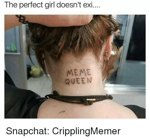 Meme, Perfect Girl, and Snapchat: The perfect girl doesn't exi...  MEME  QUEEN Snapchat: CripplingMemer