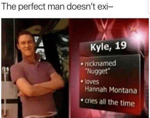 "Montana: The perfect man doesn't exi-  Kyle, 19  nicknamed  ""Nugget""  loves  Hannah Montana  cries all the time"