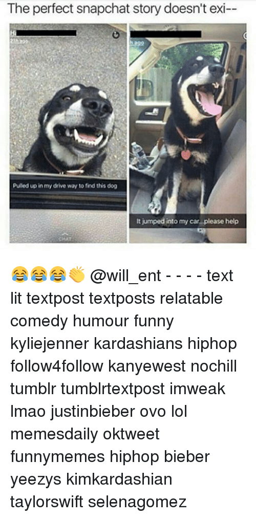 Funny, Kardashians, and Lit: The perfect snapchat story doesn't exi--  Pulled up in my drive way to find this dog  It jumped into my car please help 😂😂😂👏 @will_ent - - - - text lit textpost textposts relatable comedy humour funny kyliejenner kardashians hiphop follow4follow kanyewest nochill tumblr tumblrtextpost imweak lmao justinbieber ovo lol memesdaily oktweet funnymemes hiphop bieber yeezys kimkardashian taylorswift selenagomez