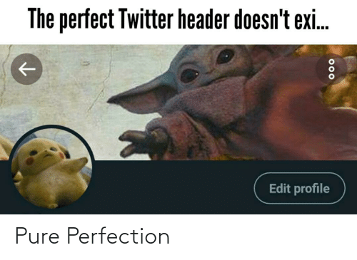 Exi: The perfect Twitter header doesn't exi.  Edit profile  000 Pure Perfection