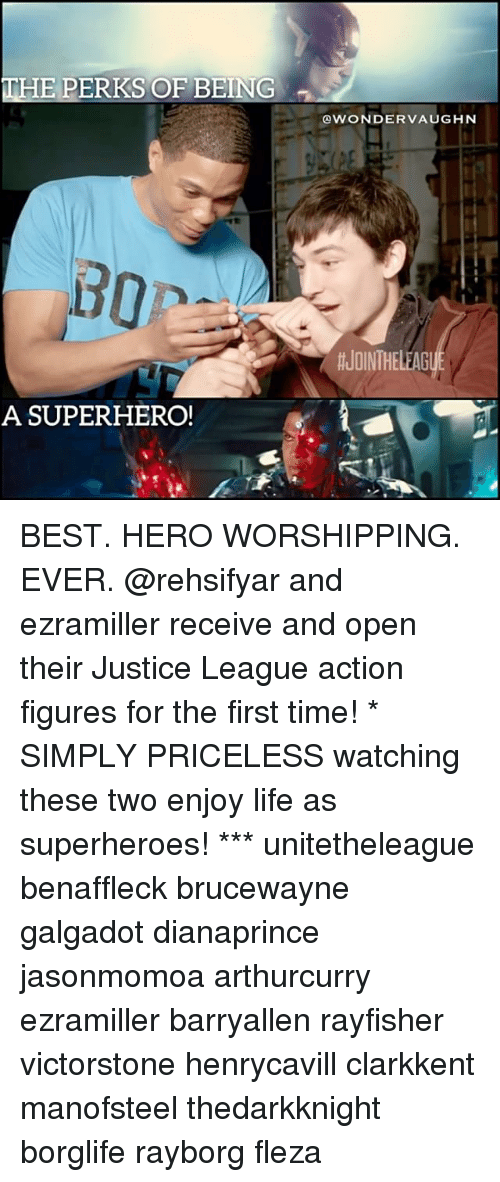 Action Figures: THE PERKS OF BEING  OWONDERVAUGHN  #JOINTHELEAG  A SUPERHERO BEST. HERO WORSHIPPING. EVER. @rehsifyar and ezramiller receive and open their Justice League action figures for the first time! * SIMPLY PRICELESS watching these two enjoy life as superheroes! *** unitetheleague benaffleck brucewayne galgadot dianaprince jasonmomoa arthurcurry ezramiller barryallen rayfisher victorstone henrycavill clarkkent manofsteel thedarkknight borglife rayborg fleza