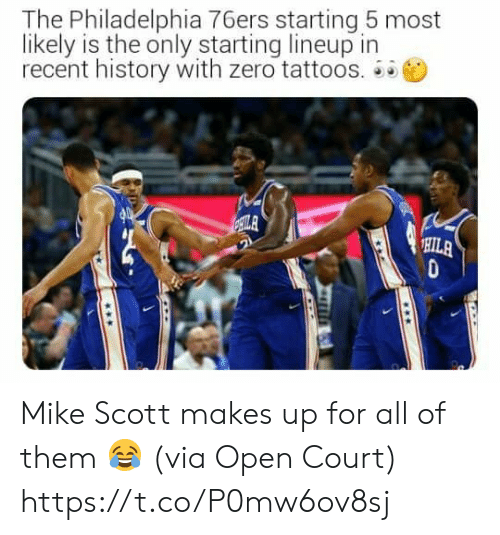 Philadelphia: The Philadelphia 76ers starting 5 most  likely is the only starting lineup in  recent history with zero tattoos.  ILA  HILA Mike Scott makes up for all of them 😂  (via Open Court) https://t.co/P0mw6ov8sj
