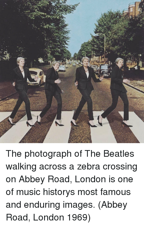 zebra crossing: The photograph of The Beatles walking across a zebra crossing on Abbey Road, London is one of music historys most famous and enduring images. (Abbey Road, London 1969)
