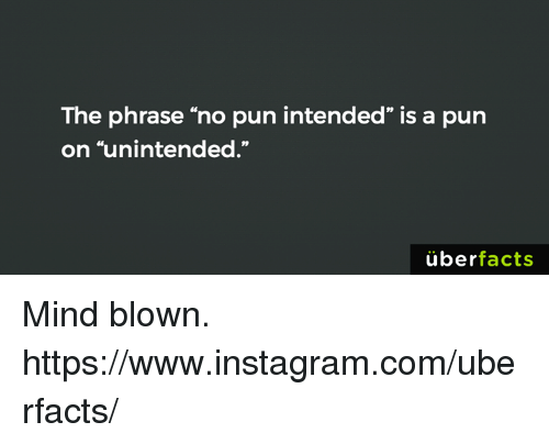 """Puns Intended: The phrase """"no pun intended"""" is a pun  on """"unintended.""""  uber  facts Mind blown. https://www.instagram.com/uberfacts/"""