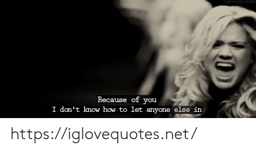 Because of You: THE PIECEISGONE  Because of you  I don't know how to let anyone else in https://iglovequotes.net/