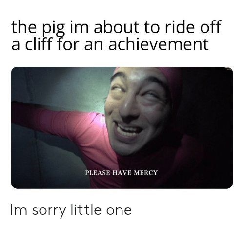 Have Mercy: the pig im about to ride off  a cliff for an achievement  PLEASE HAVE MERCY Im sorry little one