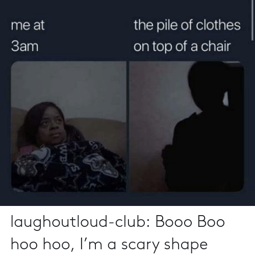 hoo: the pile of clothes  me at  3am  on top of a chair  20  WB laughoutloud-club:  Booo Boo hoo hoo, I'm a scary shape