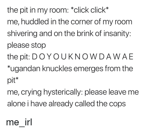 Being Alone, Click, and Crying: the pit in my room: *click click*  me, huddled in the corner of my room  shivering and on the brink of insanity:  please stop  the pit: D OYOUKNOWDAWAE  ugandan knuckles emerges from the  pit*  me, crying hysterically: please leave me  alone i have already called the cops