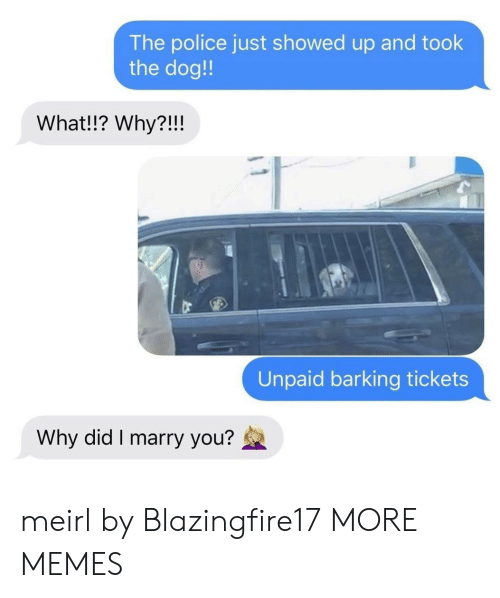 tickets: The police just showed up and took  the dog!  What!!? Why?!!!  Unpaid barking tickets  Why did I marry you? meirl by Blazingfire17 MORE MEMES