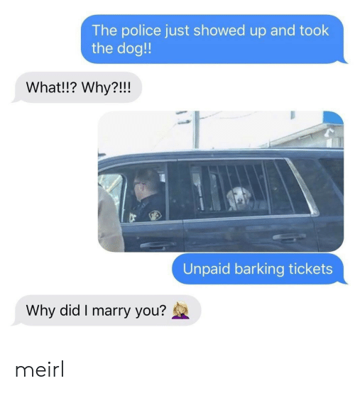 tickets: The police just showed up and took  the dog!  What!!? Why?!!!  Unpaid barking tickets  Why did I marry you? meirl