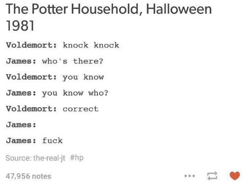 the potter household halloween 1981 voldemort knock knock james