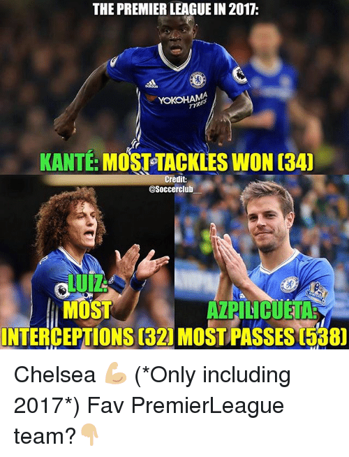 Memes, 🤖, and Team: THE PREMIER LEAGUE IN 2017:  YOKOHAMA  MOSTTACKLES WON aAu  KANTE  Credit:  asoccerclub  MOST  INTERCEPTIONS 1321MoSTPASSES Chelsea 💪🏼 (*Only including 2017*) Fav PremierLeague team?👇🏼
