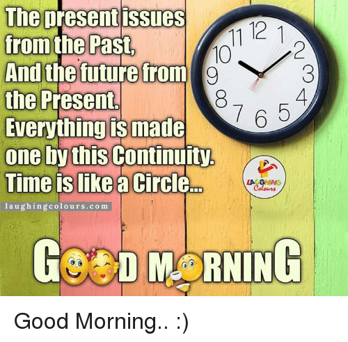 Good Morning, Circles, and Indianpeoplefacebook: The present issues  11 121  from the Past,  And the future from  g  the Present  7 A 5  Everything IS made  one by this  Continuity  Time is like  a circle  LA GVHING  laughing colours.com  GO D MORNING Good Morning.. :)