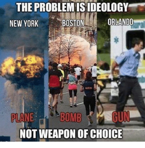 New York, Boston, and Orlando: THE PROBLEMISIDEOLOGY  ORLANDO  BOSTON  NEW YORK  BOMB  PLANE  NOT WEAPON OF CHOICE