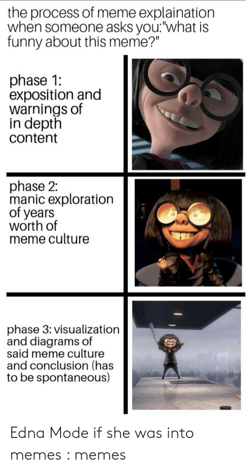 "Edna Mode Meme: the process of meme explaination  when someone asks you: what is  funny about this meme?""  phase 1:  exposition and  warnings of  in depth  content  phase 2:  manic exploration  of years  worth of  meme culture  phase 3: visualization  and diagrams of  said meme culture  and conclusion (has  to be spontaneous) Edna Mode if she was into memes : memes"