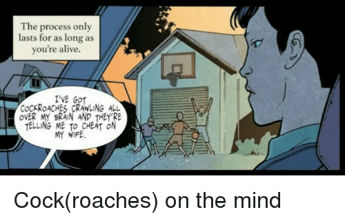 cockroaches: The process only  lasts for as long as  you're alive.  'VE GOT  COCKROACHES CRAWLING ALL  OVER MY BRAIN AND THEY RE  TELLING ME TO CHEAT ON  MY WIFE Cock(roaches) on the mind