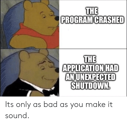 Shutdown: THE  PROGRAM CRASHED  THE  APPLICATION HAD  ANUNEXPECTED  SHUTDOWN Its only as bad as you make it sound.
