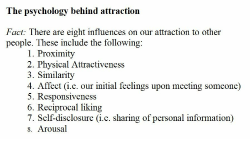 disclosure: The psychology behind attraction  Fact: There are eight influences on our attraction to other  people. These include the following  1. Proximity  2. Physical Attractiveness  3. Similarity  4. Affect (i.e. our initial feelings upon meeting someone)  5. Responsiveness  6. Reciprocal liking  7. Self-disclosure (i.e. sharing of personal information)  8. Arousal