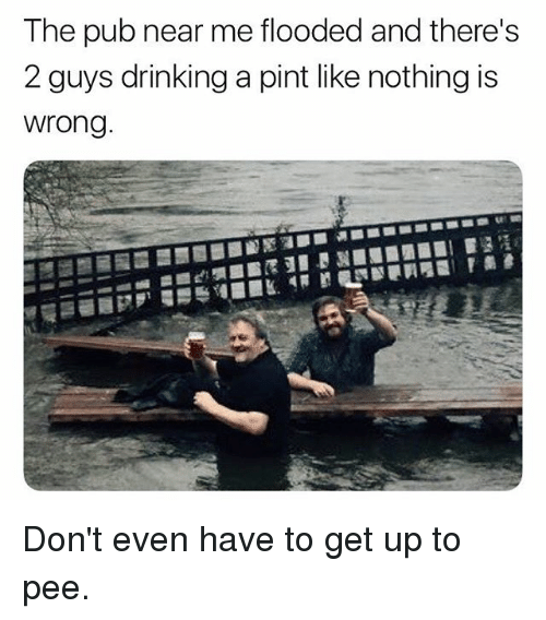 Nothing Is Wrong: The pub near me flooded and there's  2 guys drinking a pint like nothing is  wrong Don't even have to get up to pee.