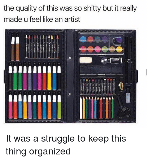 Struggle, Girl Memes, and Artist: the quality of this was so shitty but it really  made u feel like an artist It was a struggle to keep this thing organized