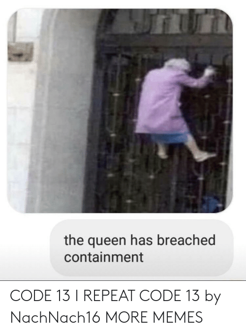 containment: the queen has breached  containment CODE 13 I REPEAT CODE 13 by NachNach16 MORE MEMES