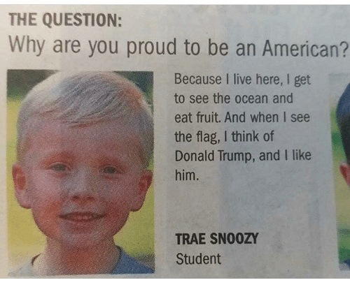 i like him: THE QUESTION:  Why are you proud to be an American?  Because I live here, I get  to see the ocean and  eat fruit. And when I see  the flag, I think of  Donald Trump, and I like  him.  TRAE SNOOZY  Student