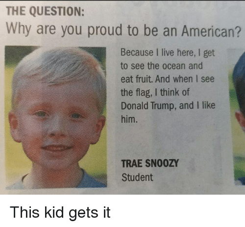 i like him: THE QUESTION:  Why are you proud to be an American?  Because I live here, I get  to see the ocean and  eat fruit. And when I see  the flag, I think of  Donald Trump, and I like  him.  TRAE SN00ZY  Student This kid gets it