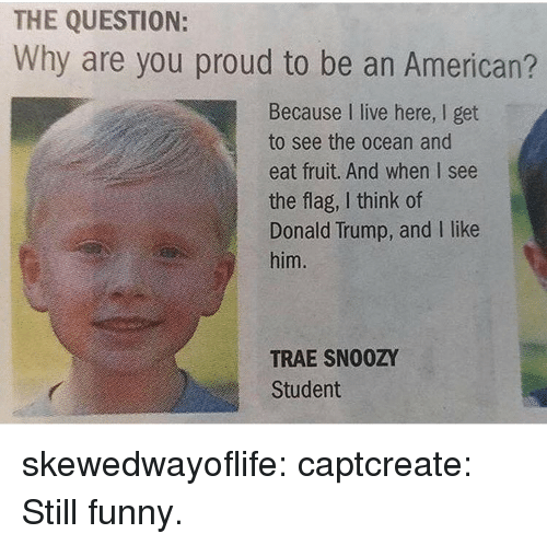 i like him: THE QUESTION:  Why are you proud to be an American?  Because I live here, I get  to see the ocean and  eat fruit. And when I see  the flag, I think of  Donald Trump, and I like  him.  TRAE SN00ZY  Student skewedwayoflife:  captcreate:   Still funny.