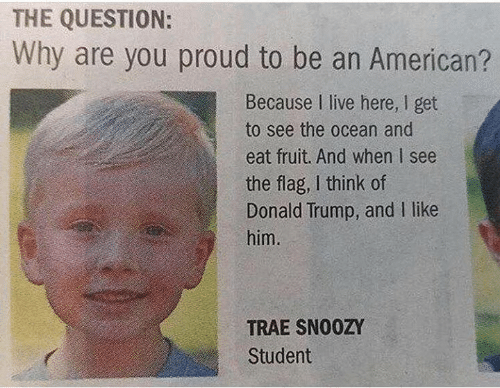 i like him: THE QUESTION:  Why are you proud to be an American?  Because I live here, I get  to see the ocean and  eat fruit. And when I see  the flag, I think of  Donald Trump, and I like  him.  TRAE SNO0ZY  Student