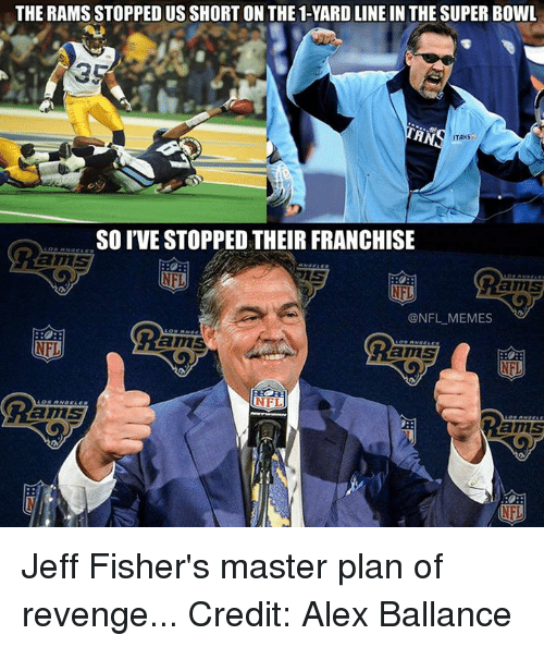 Jeff Fisher: THE RAMS STOPPEDUSSHORTON THE 1-YARD LINE IN THE SUPER BOWL  HN  ITANS  SO IVE STOPPED THEIR FRANCHISE  amS  ONFL MEMES  RO  amS  NFL Jeff Fisher's master plan of revenge... Credit: Alex Ballance