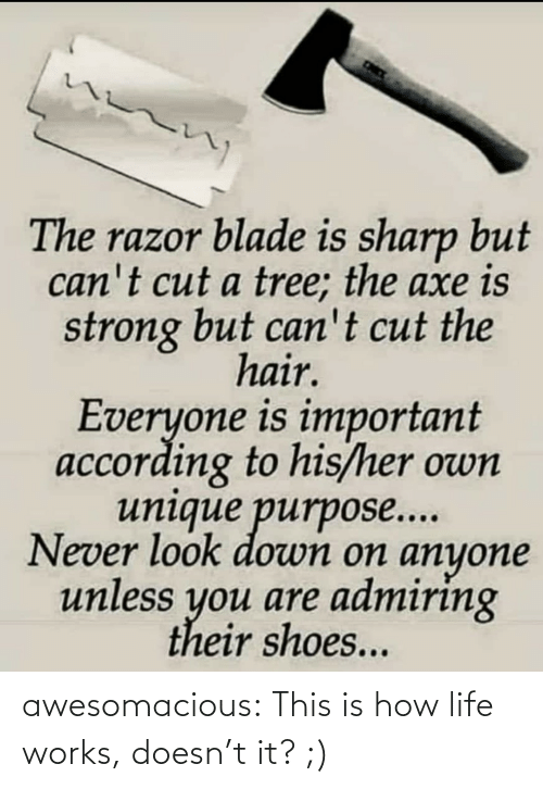 purpose: The razor blade is sharp but  can't cut a tree; the axe is  strong but can't cut the  hair.  Everyone is important  according to his/her own  unique purpose...  Never look down on anyone  unless you are admiring  their shoes... awesomacious:  This is how life works, doesn't it? ;)