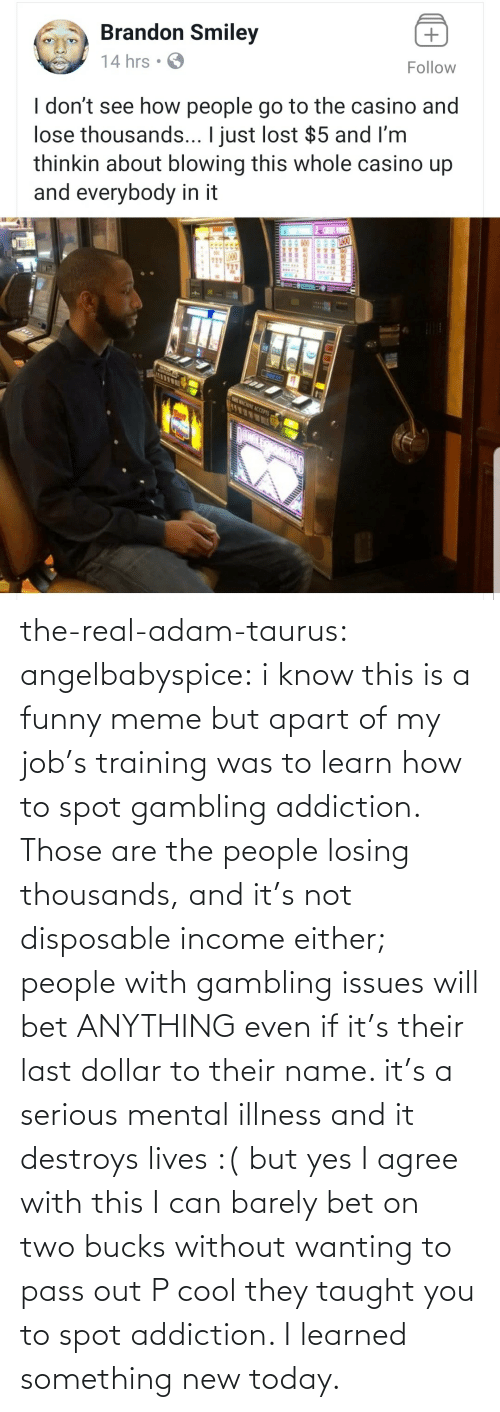 Agree With: the-real-adam-taurus:  angelbabyspice:  i know this is a funny meme but apart of my job's training was to learn how to spot gambling addiction. Those are the people losing thousands, and it's not disposable income either; people with gambling issues will bet ANYTHING even if it's their last dollar to their name. it's a serious mental illness and it destroys lives :( but yes I agree with this I can barely bet on two bucks without wanting to pass out    P cool they taught you to spot addiction. I learned something new today.