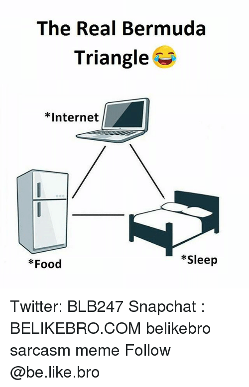 Be Like, Bermuda Triangle, and Food: The Real Bermuda  Triangle  *Internet  *Sleep  *Food Twitter: BLB247 Snapchat : BELIKEBRO.COM belikebro sarcasm meme Follow @be.like.bro