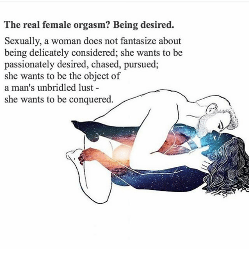 Memes, Orgasm, and The Real: The real female orgasm? Being desired.  Sexually, a woman does not fantasize about  being delicately considered; she wants to be  passionately desired, chased, pursued,  she wants to be the object of  a man's unbridled lust  she wants to be conquered.