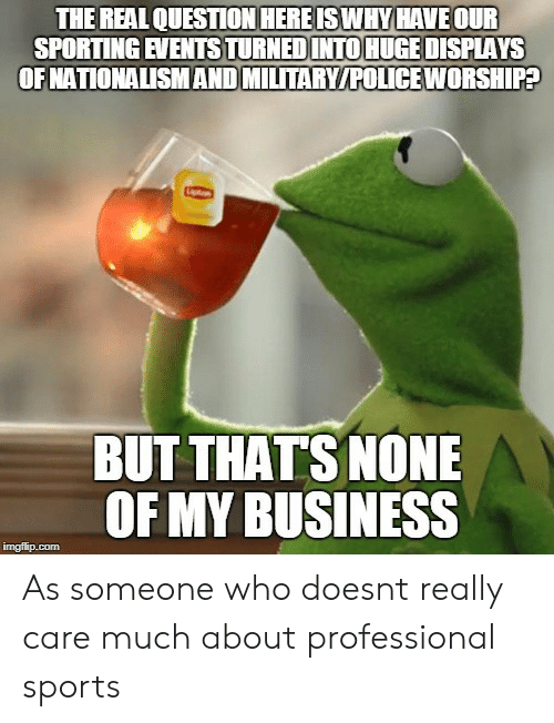 But Thats None Of My Business: THE REAL QUESTION HEREISWHY HAVE OUR  SPORTING EVENTSTURNEDINTO HUGE DISPLAYS  OFNATIONALISMAND MILTARY/POLICE WORSHIPA  BUT THATS NONE  OF MY BUSINESS As someone who doesnt really care much about professional sports