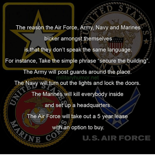 """Memes, Air Force, and Marines: The reason the Air Force, Army, Navy and Marines  bicker amongst themselves  is that they don't speak the same language.  For instance, Take the simple phrase """"secure the building"""".  The Army will post guards around the place  military humor net  The Navy will turn out the lights and lock the doors  The Marines will kill everybody inside  and set up a headquarters  The Air Force will take out a 5 year lease  with an option to buy.  TNE  U S AIR FORCE"""