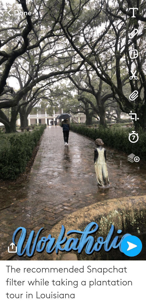 Snapchat Filter: The recommended Snapchat filter while taking a plantation tour in Louisiana