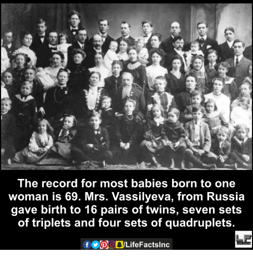 Memes, Twins, and 🤖: The record for most babies born to one  woman is 69. Mrs. Vassilyeva, from Russia  gave birth to 16 pairs of twins, seven sets  of triplets and four sets of quadruplets.  Of
