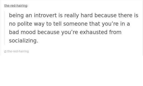an introvert: the-red-hairing:  being an introvert is really hard because there is  no polite way to tell someone that you're in a  bad mood because you're exhausted from  socializing.  the-red-hairing