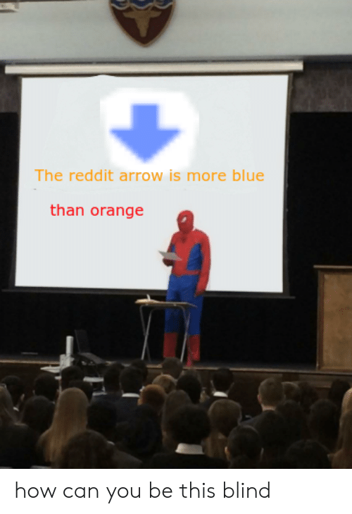 Reddit Arrow: The reddit arrow is more blue  than orange how can you be this blind