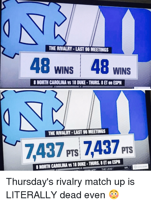match up: THE RIVALRY LAST 96 MEETINGS  48 WINS 48 WINS  8 NORTH CAROLINA VS 18 DUKE. THURS, 8 ET on ESPN   THE RIVALRY LAST 96 MEETINGS  7437 PTS PTS  8 NORTH CAROUNA vs 18 DUKE-THURS, SET on ESPN  ESPN APP  THE LEAD  NFL Thursday's rivalry match up is LITERALLY dead even 😳