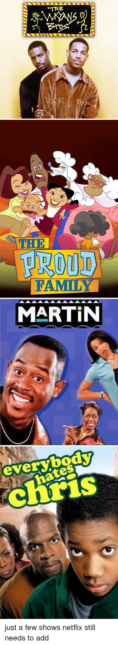 Hood and Proud Family: THE  ro   O O  PROUD  FAMILY   MARTIN   everybody  ates just a few shows netflix still needs to add