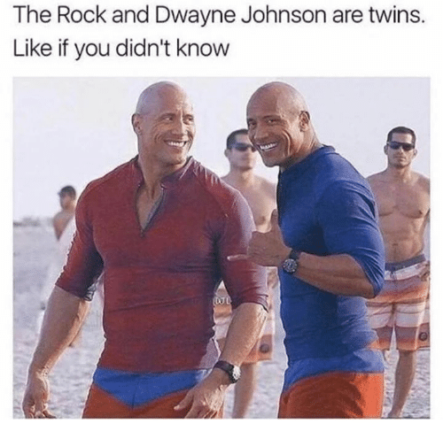 Dwayne Johnson, The Rock, and Twins: The Rock and Dwayne Johnson are twins.  Like if you didn't know